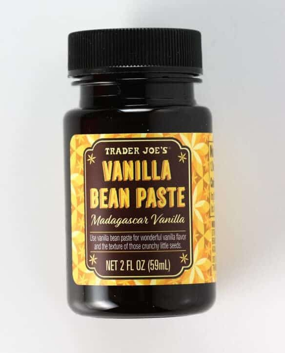 An unopened jar of Trader Joe's Vanilla Bean Paste