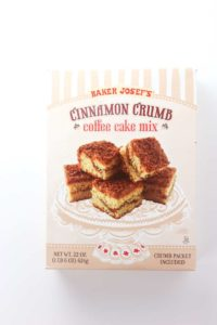 An unopened box of Trader Joe's Cinnamon Crumb Coffee Cake Mix