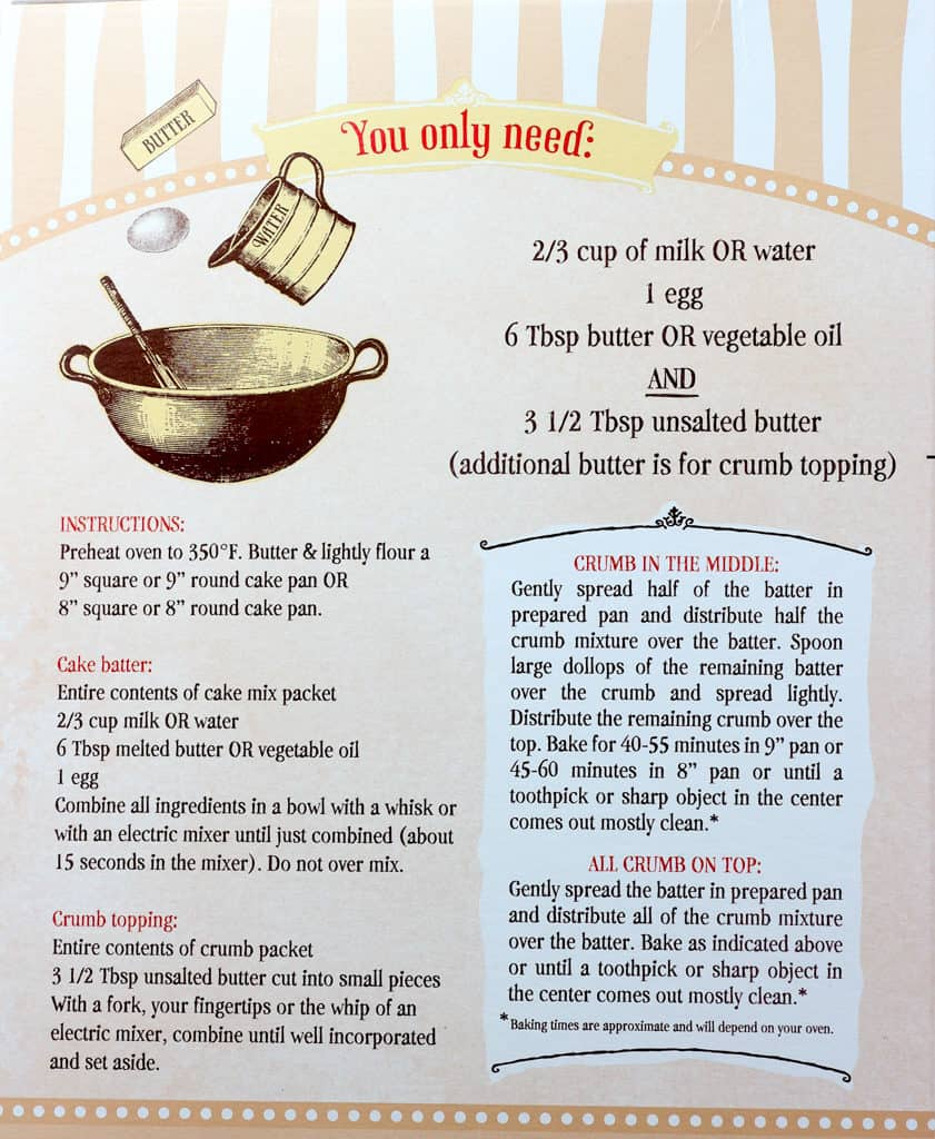 Preparation instructions for Trader Joe's Cinnamon Crumb Coffee Cake Mix