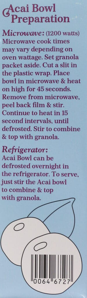 Directions for Trader Joe's Organic Acai Bowl