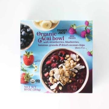 An unopened box of Trader Joe's Organic Acai Bowl
