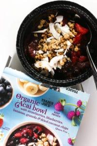 A fully prepared and thawed Trader Joe's Organic Acai Bowl