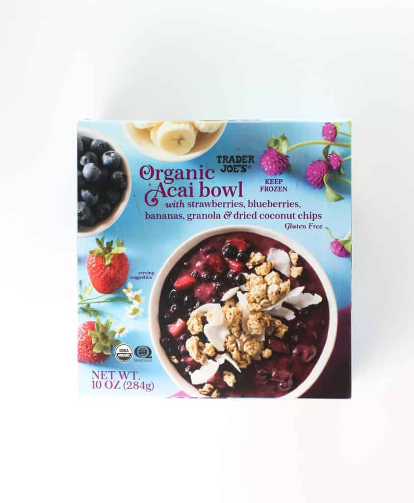 An unopened box of Trader Joe's Organic Acai Bowl