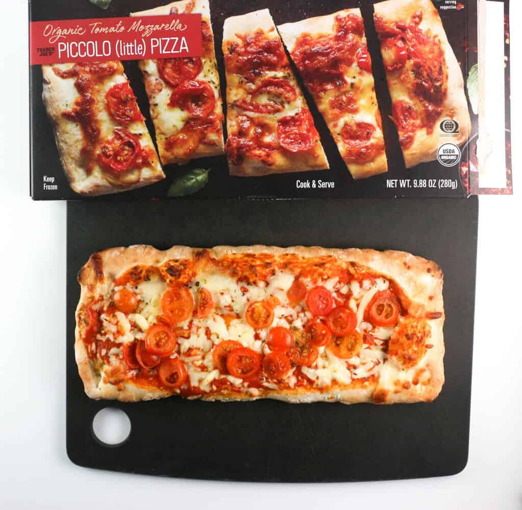 An fully cooked Trader Joe's Organic Tomato Mozzarella Piccolo Pizza