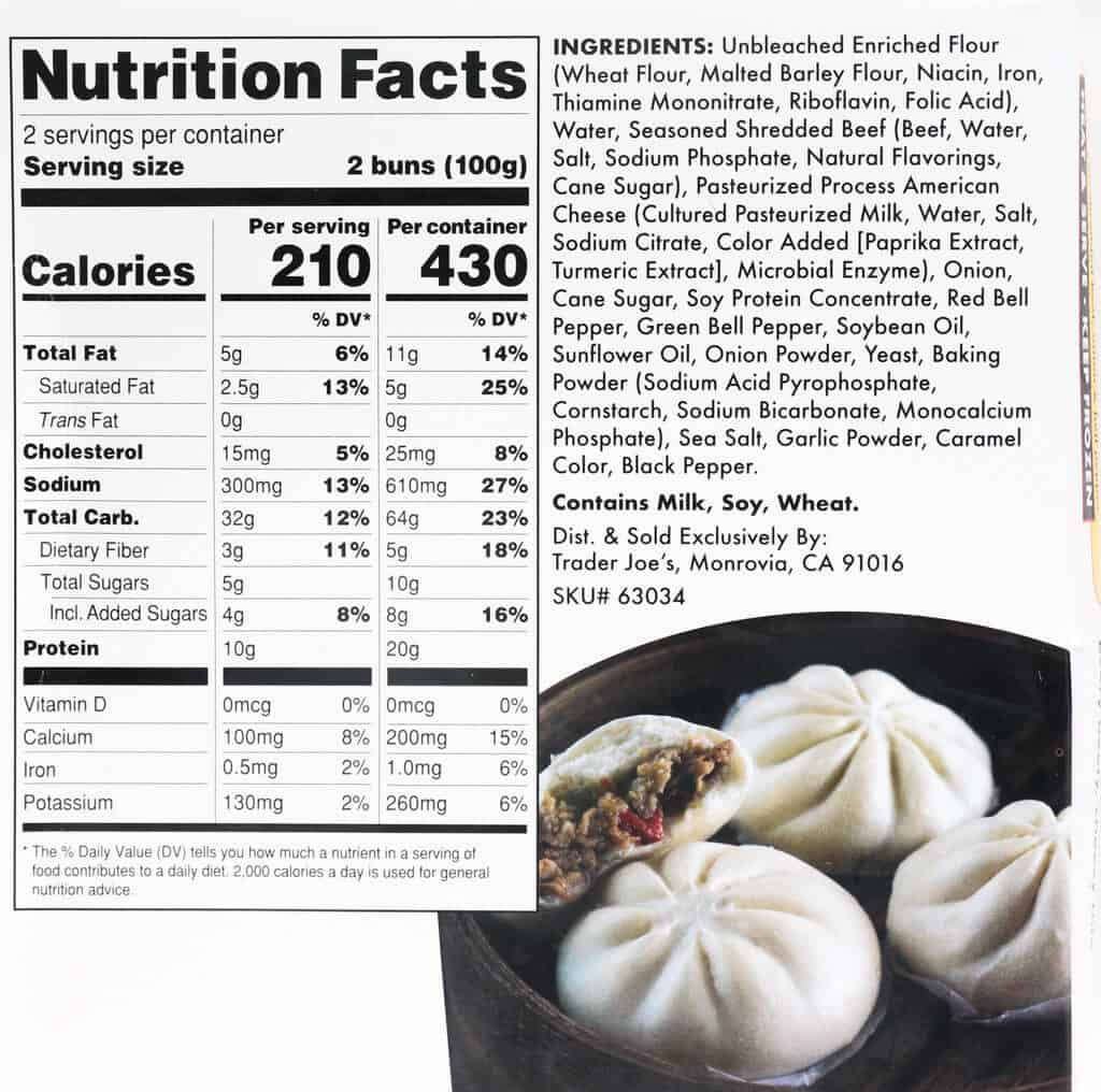 Nutritional information, calories, and ingredients in Trader Joe's Philly Cheesesteak Bao Buns