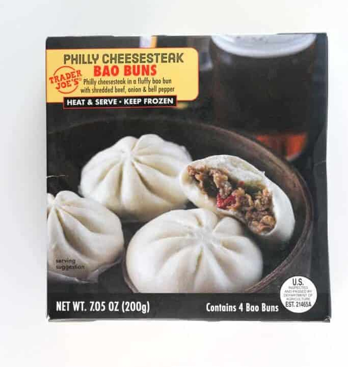An unopened box of Trader Joe's Philly Cheesesteak Bao Buns