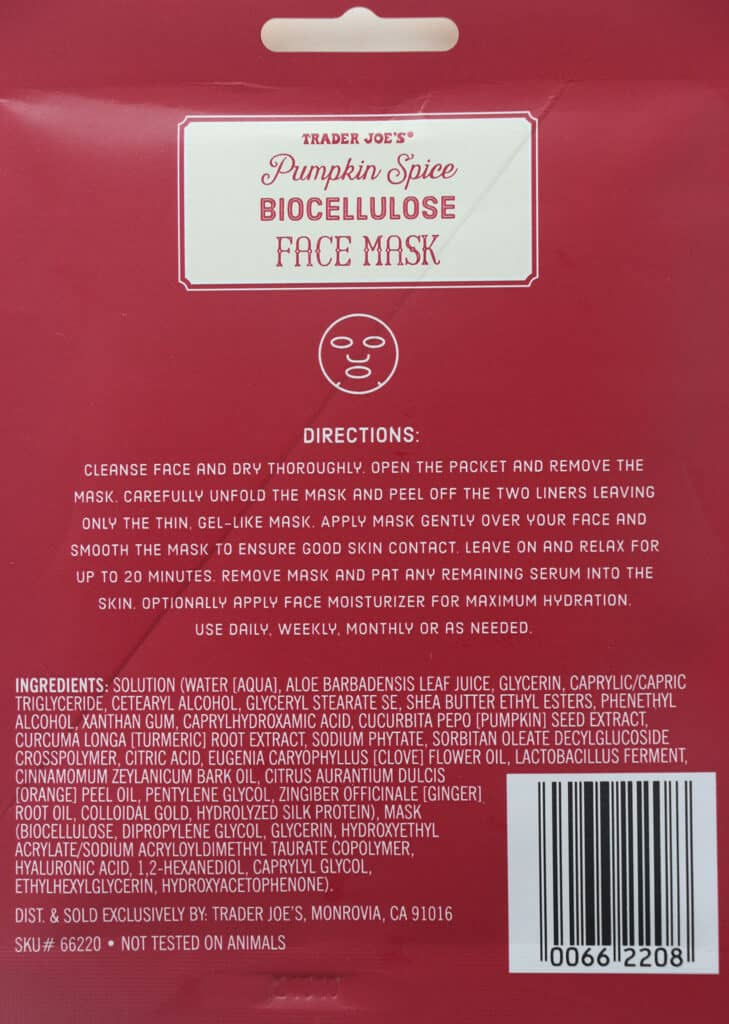 The directions and ingredients in Trader Joe's Pumpkin Spice Biocellulose Face Mask