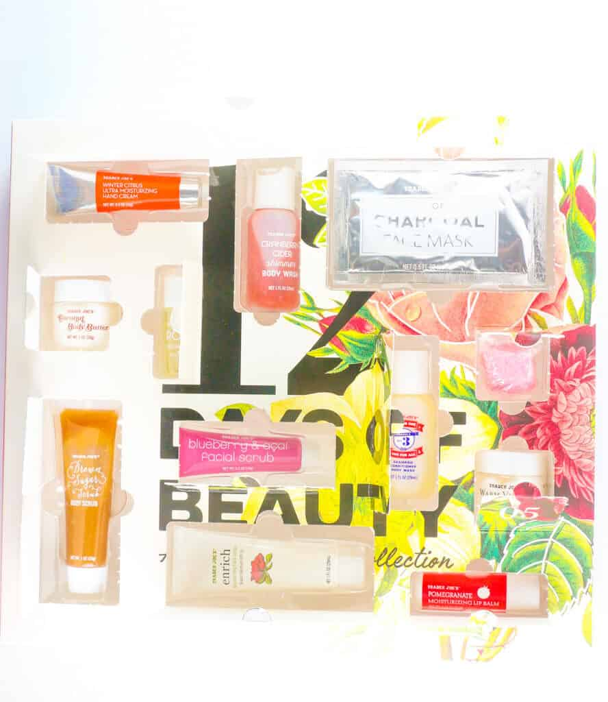 An opened package of Trader Joe's 12 Days of Beauty