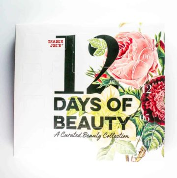 An unopened box of Trader Joe's 12 Days of Beauty