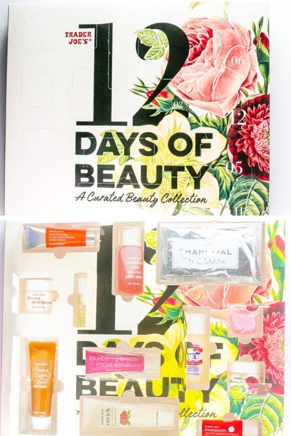 A collage of a new and opened box of Trader Joe's 12 Days of Beauty
