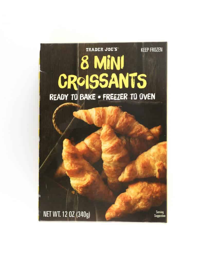 An unopened box of Trader Joe's 8 Mini Croissants