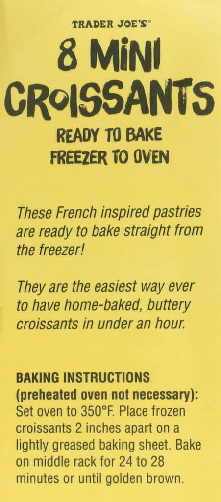 The cooking directions for Trader Joe's 8 Mini Croissants
