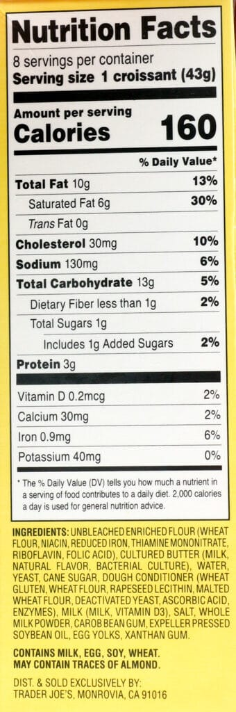 Nutritional information, calories and ingredient list in Trader Joe's 8 Mini Croissants