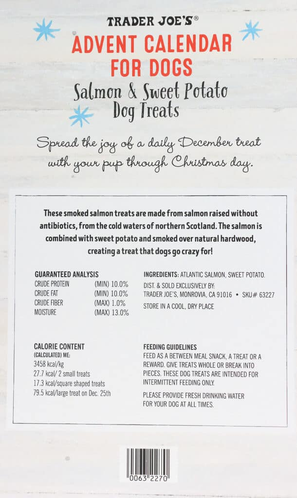 The nutritional and ingredients in Trader Joe's Advent Calendar for Dogs
