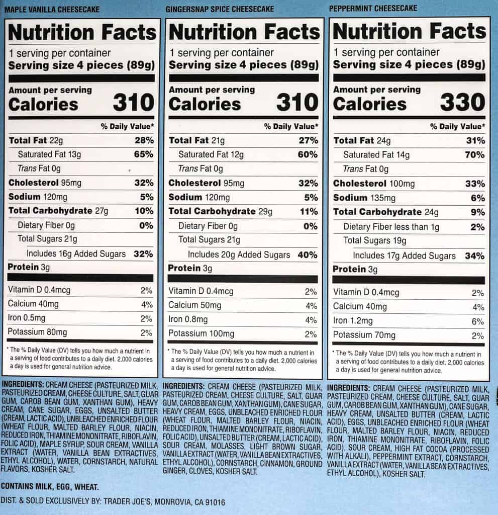 Nutritional information, calories, and ingredients in all three flavors of Trader Joe's Cheesecake in a Bite