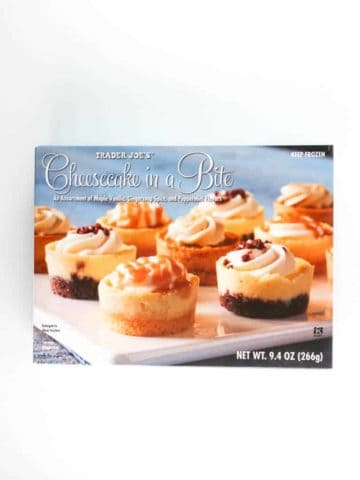 An unopened box of Trader Joe's Cheesecake in a Bite