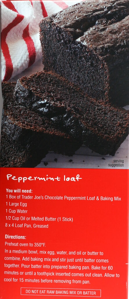 Trader Joe's Chocolate Peppermint Loaf and Baking Mix directions for making this as a loaf