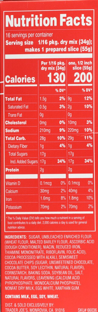 Nutritional facts, calories, ingredients in Trader Joe's Chocolate Peppermint Loaf and Baking Mix