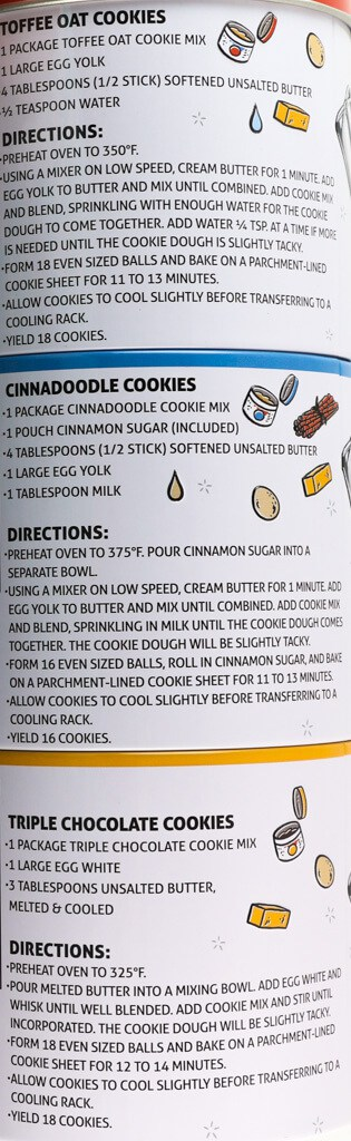 Directions and ingredients need to make each of the Trader Joe's Cookie Mix Trio