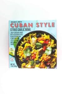 An unopened box of Trader Joe's Cuban Style Citrus Garlic Bowl