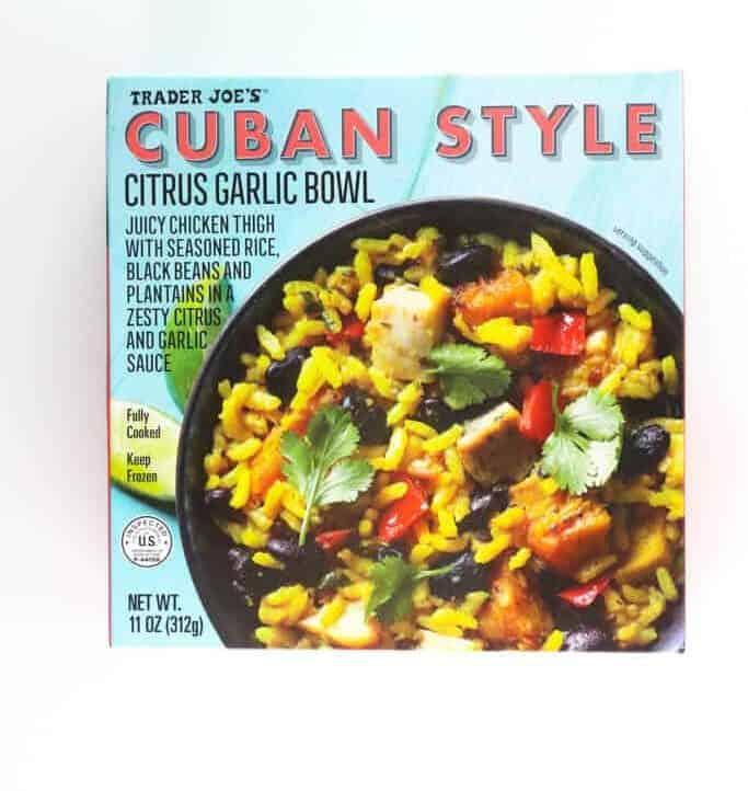 An unopened box of Trader Joe's Cuban Style Citrus Garlic Bowl
