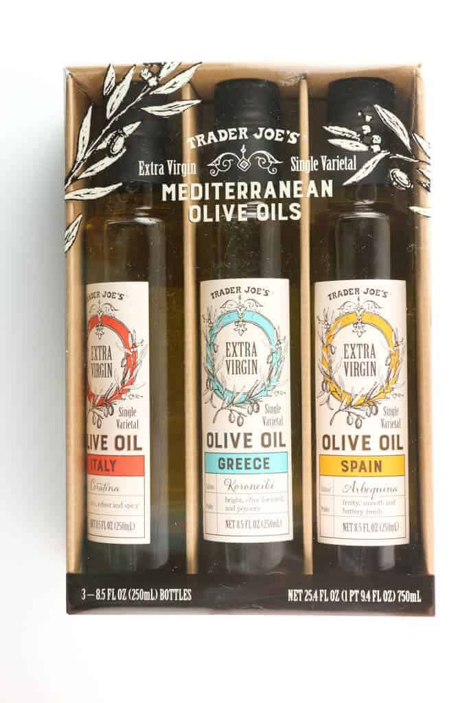 An unopened package of Trader Joe's Mediterranean Olive Oil Trio