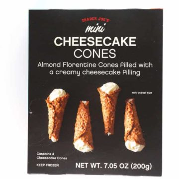 An unopened box of Trader Joe's Mini Cheesecake Cones