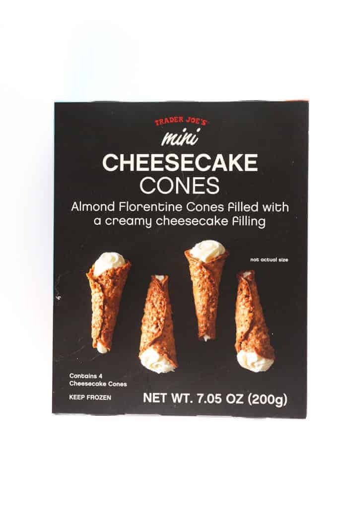 An unopened box of Trader Joe's Mini Cheesecake Cones