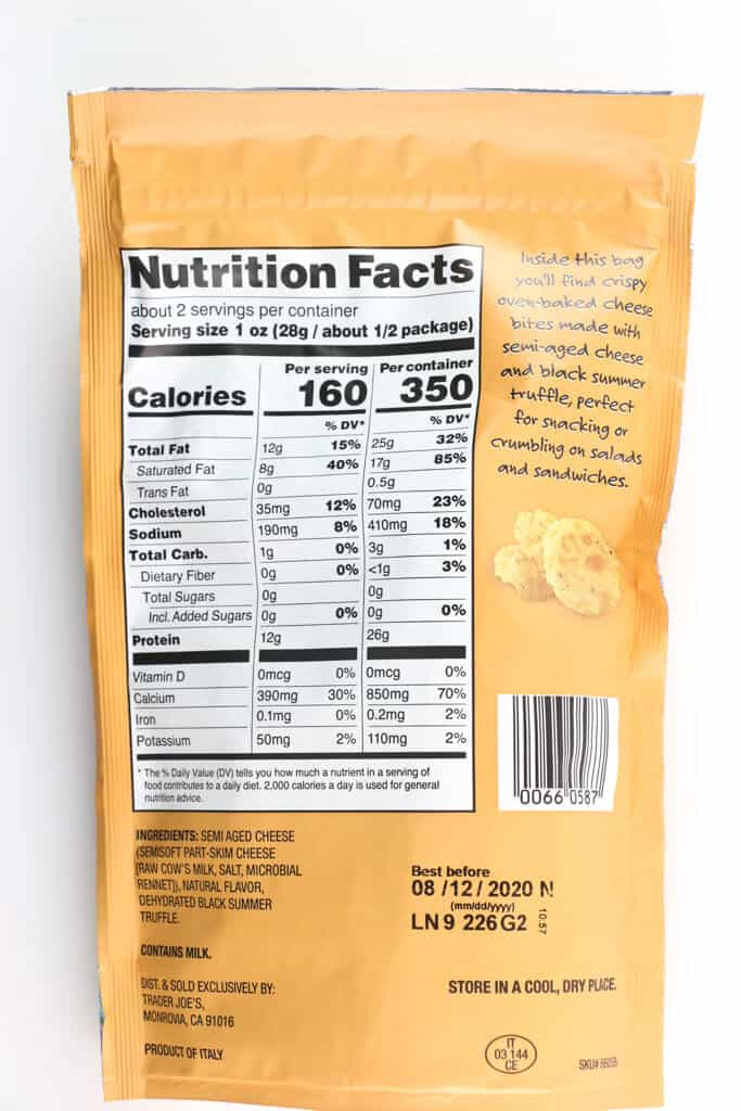 Nutritional facts, calories, and ingredients in Trader Joe's Oven Baked Cheese Bites with Black Truffle