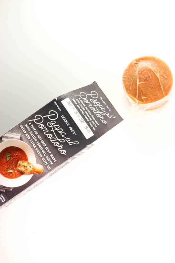 Trader Joe's Pappa al Pomodoro out of the box showing the cylinder of soup