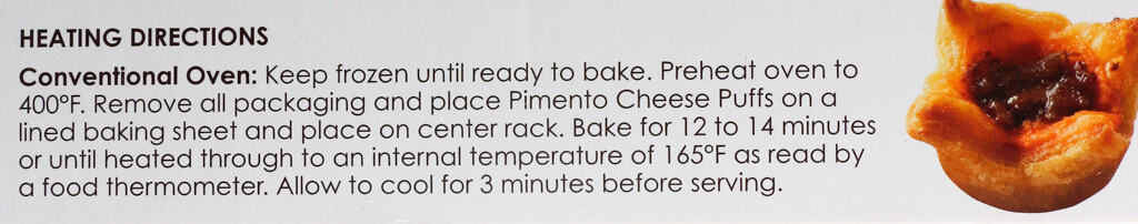Cooking directions for Trader Joe's Pimento Cheese Puffs