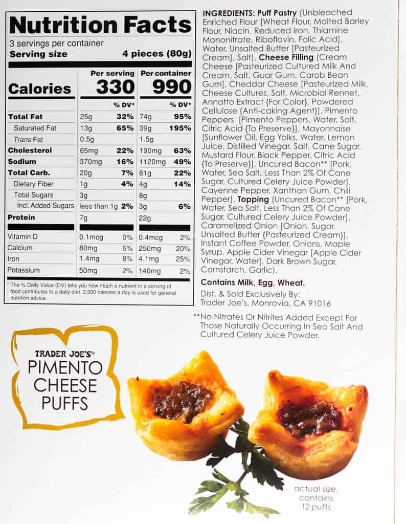 Nutritional information, calories, and ingredients in Trader Joe's Pimento Cheese Puffs