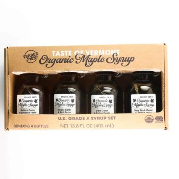An unopened package of Trader Joe's Taste of Vermont Organic Maple Syrup