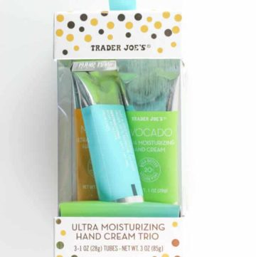 An unopened container of Trader Joe's Ultra Moisturizing Hand Cream Trio