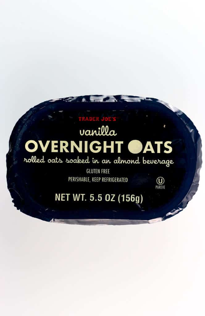 An unopened package of Trader Joe's Vanilla Overnight Oats