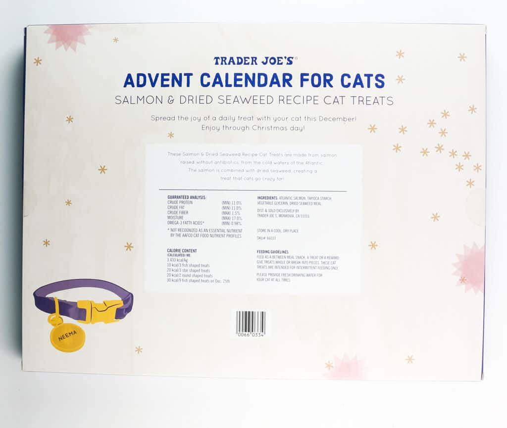 Ingredients and nutritional information for Trader Joe's Advent Calendar for Cats