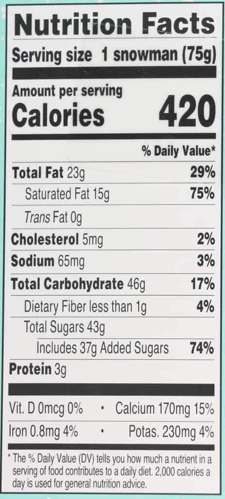 Nutritional facts and calories in Trader Joe's Hot Cocoa Snowman