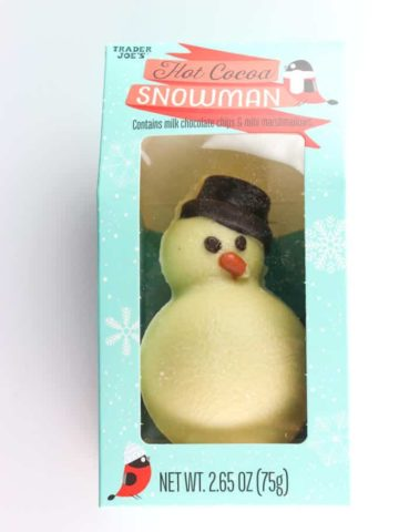 An unopened package of Trader Joe's Hot Cocoa Snowman