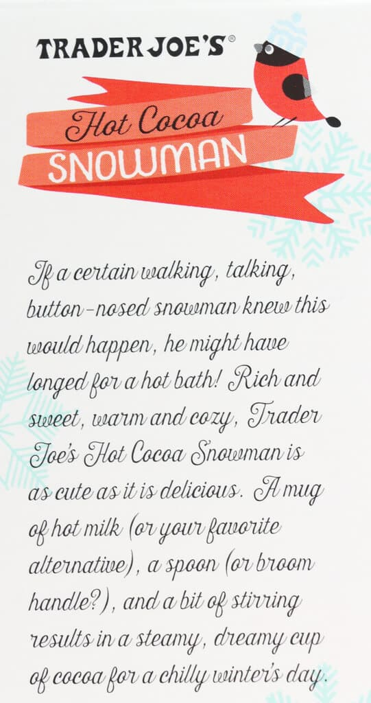 Description of Trader Joe's Hot Cocoa Snowman