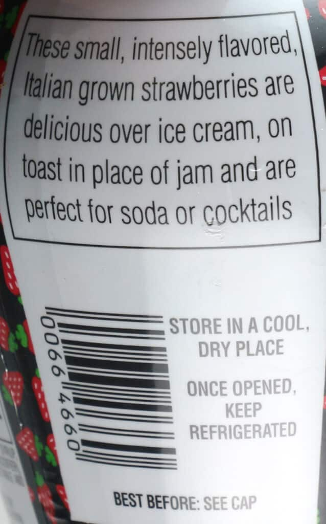 How Trader Joe's Italian Strawberries in Syrup is described on the packaging