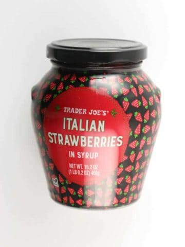 An unopened jar of Trader Joe's Italian Strawberries in Syrup