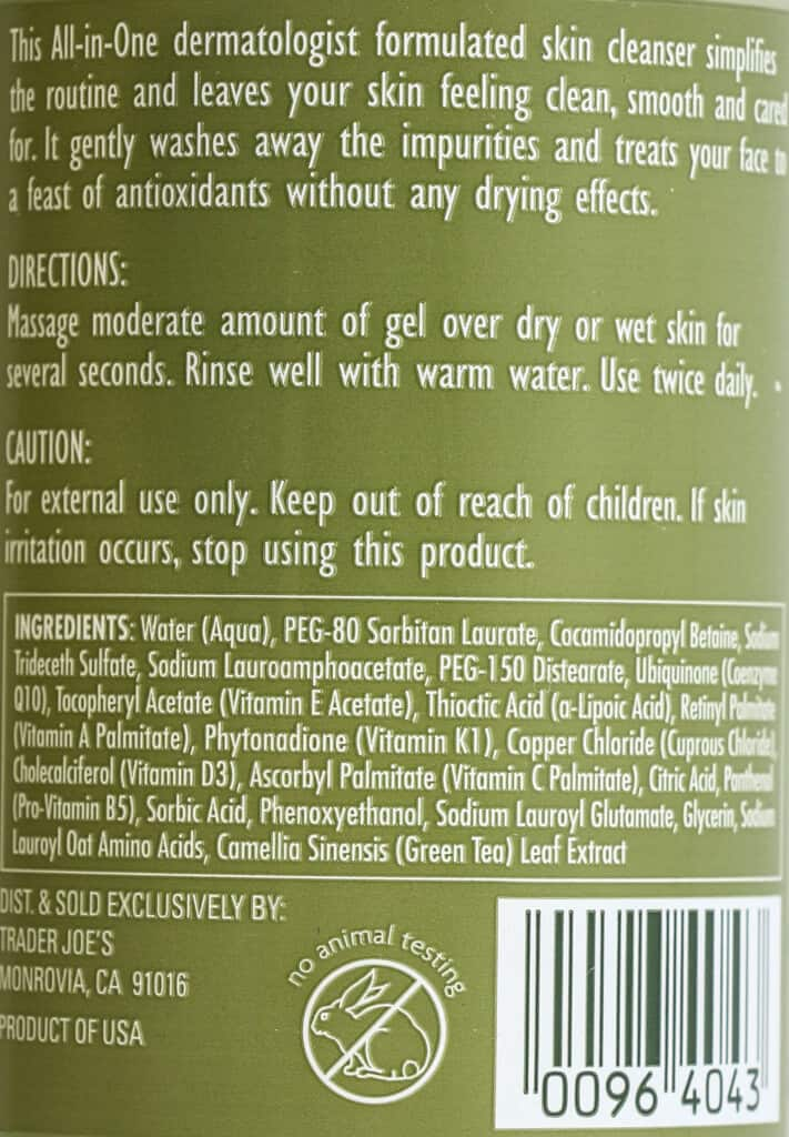 The directions and ingredients in Trader Joe's All In One Facial Cleanser