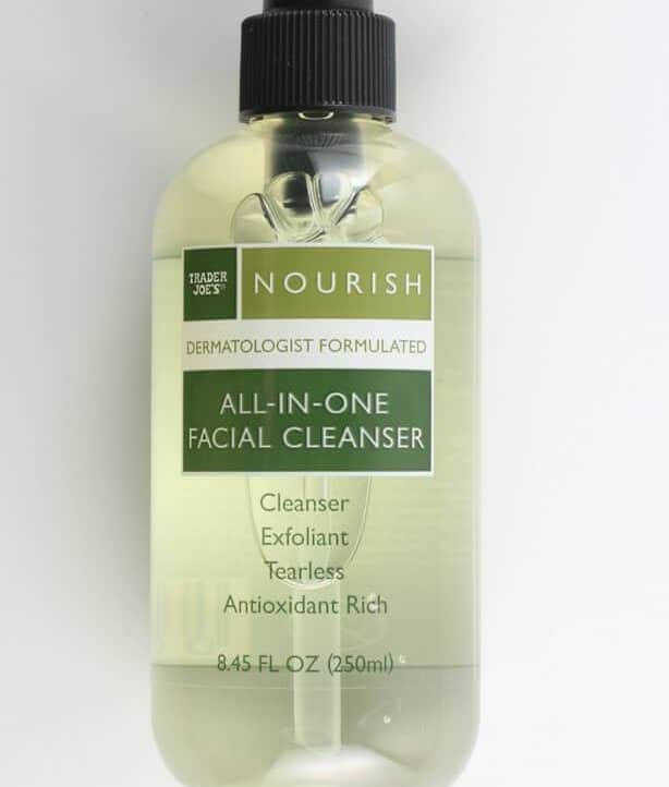 An unopened bottle of Trader Joe's All In One Facial Cleanser