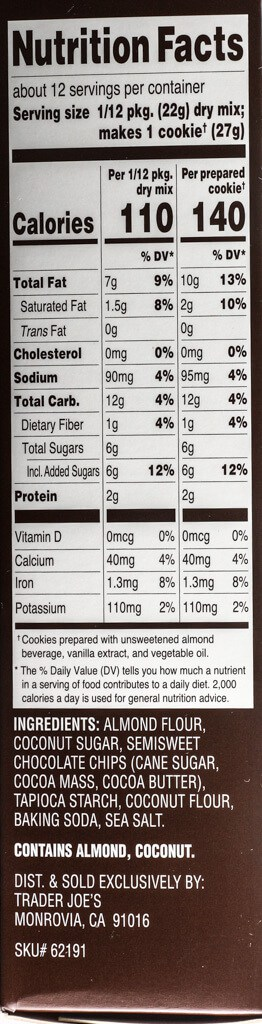 Nutritional facts and ingredients in Trader Joe's Almond Flour Chocolate Chip Cookie Baking Mix