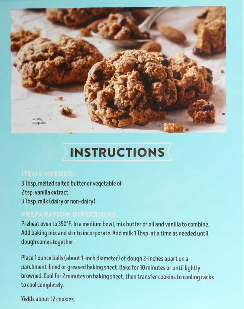 Instructions on how to make Trader Joe's Almond Flour Chocolate Chip Cookie Baking Mix
