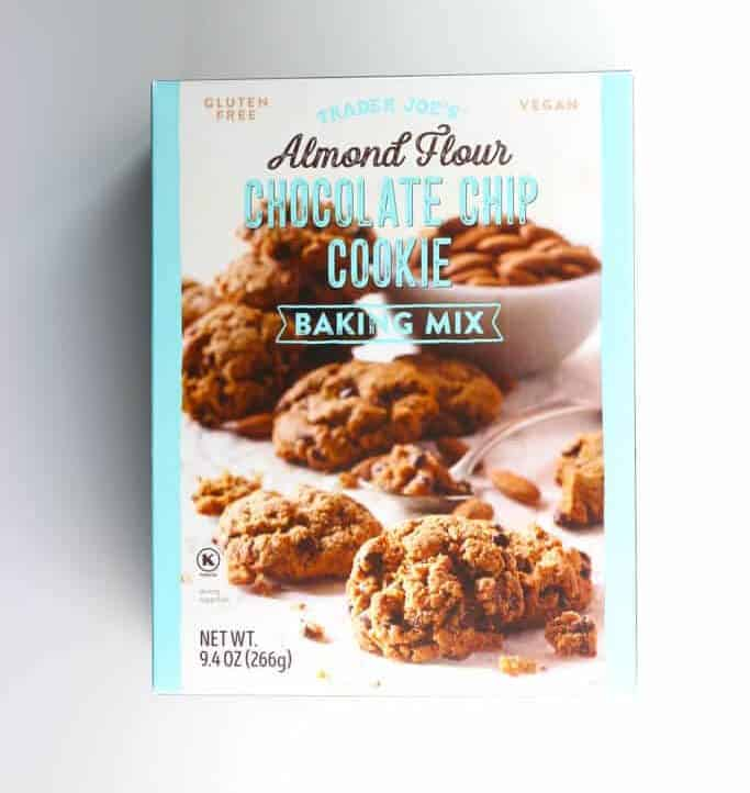 An unopened box of Trader Joe's Almond Flour Chocolate Chip Cookie Baking Mix