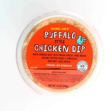 An unopened tub of Trader Joe's Buffalo Style Chicken Dip