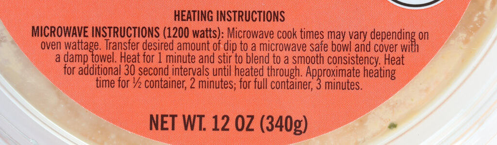 Heating instructions for Trader Joe's Buffalo Style Chicken Dip
