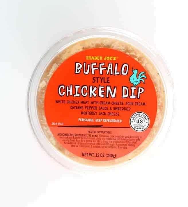 An unopened tub of Trader Joe's Buffalo Style Chicken Dip