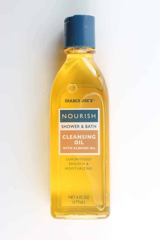 Trader Joe's Cleansing Oil on a white surface